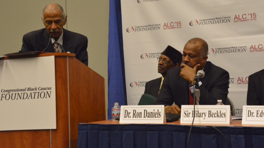 Cong. John Conyers of Detroit, honorable host of the CBC's Reparations Braintrust and author of HR40 welcomes members of the NAARC and Chairman of the CARICOM Reparations Commission Prof. Sir Hilary Beckles.
