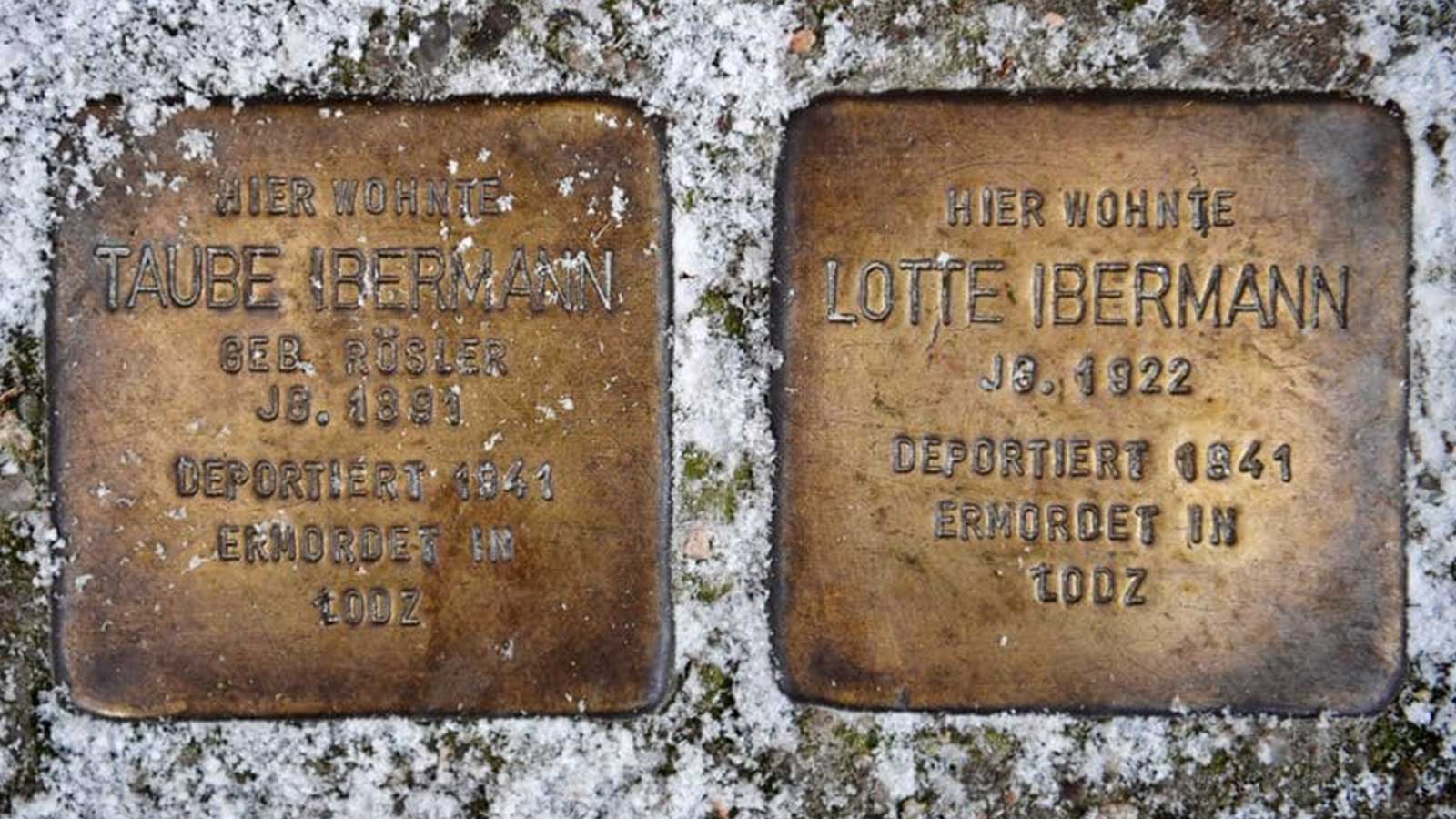 Two Stolpersteine (stumbling blocks) commemorating Holocaust victims