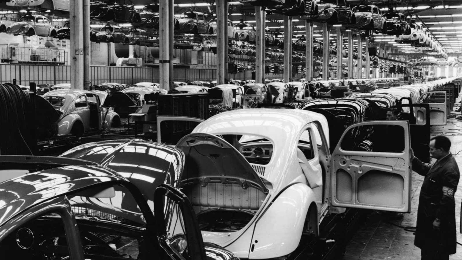 Volkswagen factory in West Germany, in the 1960s