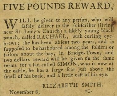 One of the Barbados newspaper advertisements seeking runaway slaves.