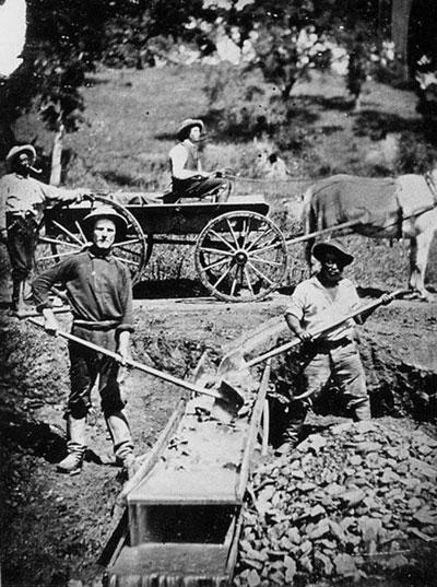Slave labour: gold mining ikn Spanish Flat, California.